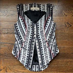 NORISOL FERRARI. Woven Silk Bustier/Vest. Size 6.